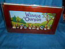 WINNIE the POOH French Porcelain FEVES Wood DISPLAY BOX Set 10 Figures Figurines