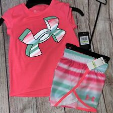 Under Armour 4 5 6 6x Airbrush Stripe Pink Green Athletic Outfit Set NEW