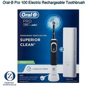 Oral-B Pro 100 Electric Rechargeable Toothbrush CrossAction Travel Case Au Plug