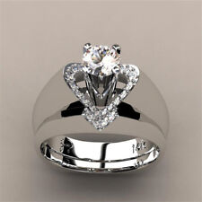 Delicate Women Fashion 925 Silver White Sapphire Heart  Ring Set Wedding Jewelry