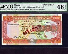 Macau, 1000 Patacas 1999, P-75s * Specimen * PMG Gem Unc 66 EPQ  * Rare *