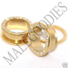 """0397 Screw-on / fit Gold Clear CZ Flesh Tunnels 11/16"""" Inch Ear Plugs 18mm Steel"""
