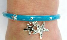 Starfish Charm Bracelet Silver With Turquoise Blue Green  Color # 5370 Stretch