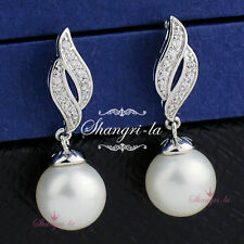 White GOLD GF Wedding Pearl Dangle EARRINGS Made with Swarovski CRYSTAL ES463