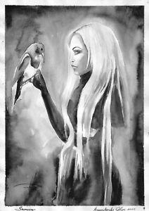 original painting A3 341KO art samovar watercolor woman with bird grisaille