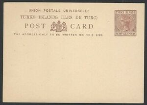 Turk Islands QV 1 1/2d brown postal card unused