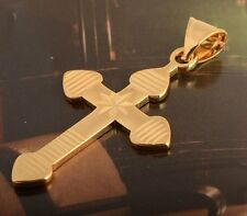 Lucky 18K Yellow Gold Filled Mens/Unisex Cross Pendant 40mm For cuban link chain