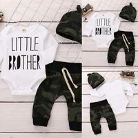 Infant Baby Boys Long Sleeve Bodysuit+Camouflage Pants+Hat 3Pcs Outfits Set NEW