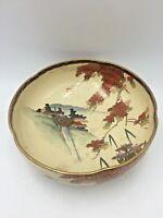 Vtg Asian Japanese Porcelain Lg Satsuma Kutani Bowl Scalloped Dish Gilt Scenery