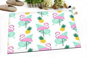 """Pink Flamingo Yellow Pineapple 24x16"""" Kitchen Bathroom Shower Bath Door Mat Rugs"""