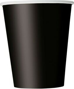 """Black Paper Party Cups 270ml 8pk - """"Midnight Black"""" Party Supplies"""