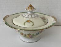 Empress Japan EMP35 Sugar Bowl Floral Green Gold Trim Hand Painted Vintage