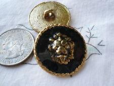 "Lion Head Black Enamel Gold Metal 5 Blazer Jacket 1"" Button Set rope edge Rustic"