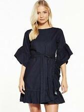 Denim Dress Size 12 Ruffle Dark Blue Very BNWT