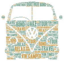 Personalised Word Art VW Camper Van Picture Christmas Gift Present