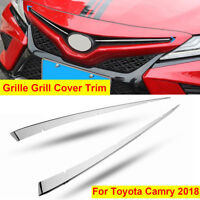 2Pcs Silver Front intermediate Grille Grill Cover Trim For Toyota Camry