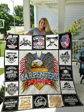 Union Carpenter Quilt Blanket All American I God Bless Union Workers