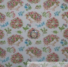 BonEful Fabric Cotton Quilt VTG Cream Blue Green Leaf Hedgehog Pink Flower SCRAP