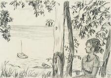 H.WINGLER (*1896), Im Café am Haff auf Sylt, 1959, Bleistiftzeichnung