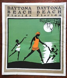 Daytona Beach Florida c. 1925 Art Deco illustrated tourism brochure