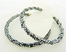 New Silver Sequin Wrapped Hoop Clip & Post Earrings