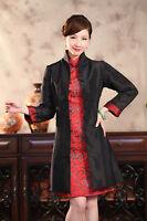 Double Face Chinese Women's Silk Jacket Coat Size 6 8 10 12 14 16 Burgundy/black