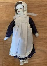 "Vintage White Porcelain 8"" Stuffed Doll Prairie Style Handmade In Taiwan"