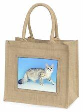 Siberian Silver Cat Large Natural Jute Shopping Bag Christmas Gift Ide, AC-23BLN