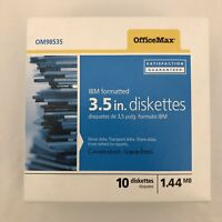 """10 Floppy Disks New in Box 3.5"""" Diskettes Office Max IBM Formatted"""