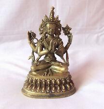 """Four Arms Chenrezig Tibetan Statue 4"""" Height"""