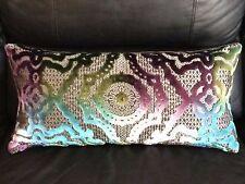 New, Textured Multicolored Velvet Throw Pillow.