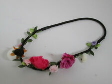 Nouveau festival noir élastique bandeau fuchsia violet multi fleur rosebud garland
