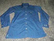 Vintage Men'S Enro Sportswear Ls Button Down Disco Shirt Blue Medium