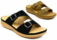 Ladies New Double Pin Buckle Soft Cushioned Wedge Heel Women Sandal UK Size 3-8