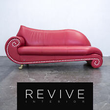Bretz Gaudi Designer Sofa Leder Rot Swarovski Dreisitzer Recamiere Couch Mode...