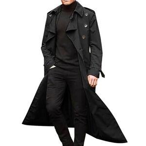 Mens Winter Warm Long Trench Coat Lapel Parka Jacket Fashion Overcoat Outwear