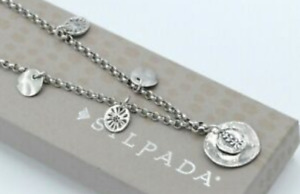 Silpada Sterling Silver Floral Disc Coin Flowers Necklace Retired N1668 RARE