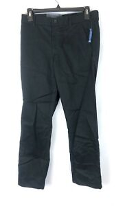 Nautica Boy's Black Uniform Flat Front Pants, Size 12 Husky