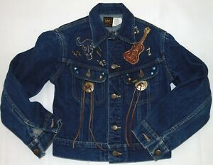 Lee Youth's Vintage Denim Jacket Hand Painted Western Motiff Made in USA Size 12