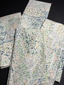 Retro Set Of 4 Peach And Green Watercolor Napkins Cotton Blend - 1980s