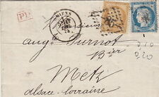 Lettre/Cover n°55&60 Amiens (Somme) pour Metz 1873