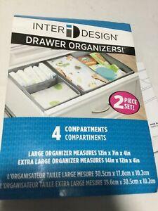 Fabric Dresser Drawer Storage Organizer, Linen, Gray, 4 compartment s