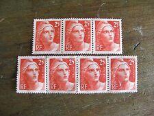 France 2 bandes de 3 et 4 marianne Gandon 1946 n° 729 25 francs sans gomme
