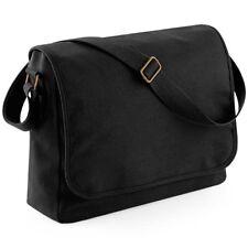 Black Canvas Messenger Shoulder Bag School College Student Office Work Mens Mans
