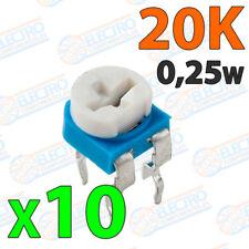 10x Potenciometro 20K ohm 1/4w 0,25w horizontal resistencia variable PCB