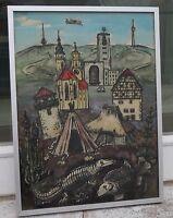 Ruth Dolmetsch (1918-2000, Akad. Stuttgart) - Zeitraffung - Hinterglasmalerei