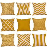 Decorative Pillow Case Mustard Yellow Geometric Fall Autumn Cushion Cover Yellow