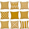 Decorative Pillow Case Mustard Yellow Geometric Fall Autumn Cushion Cover Yellow