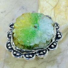Arcoiris Solar Cristal Cuarzo PURE plata de ley 925 Anillos Tamaño: 8 #b27401