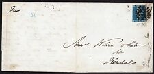 1844 letter with 1841 2d blue M C tied by London  No 7 in cross to Kendal Scarce